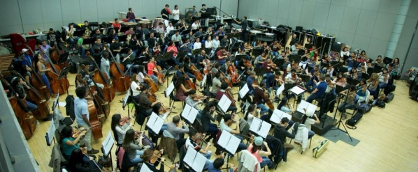 The Teresa Carreño Orchestra rehearsing in Beijing this week (from the orchestra's Facebook page)